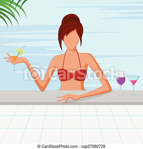 Beautiful woman in swimming pool - csp37080729