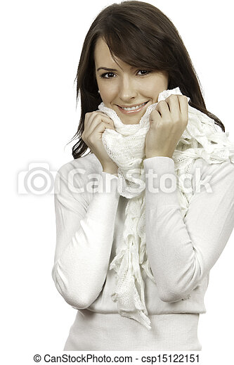 beautiful woman isolated on white background - csp15122151
