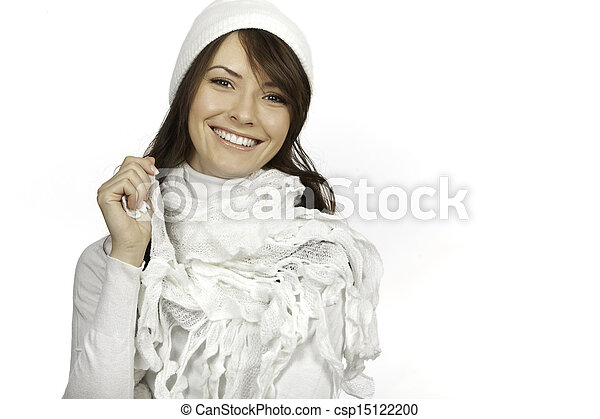 beautiful woman isolated on white background - csp15122200