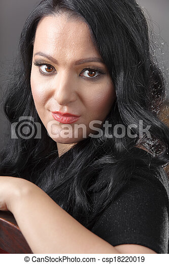 Beautiful woman looking at camera - csp18220019