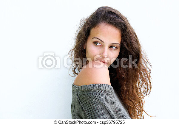 Beautiful woman looking glancing over shoulder - csp36795725