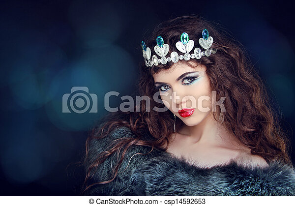 Beautiful woman luxury portrait with long hair in fur coat. Jewelry and Beauty. Fashion art photo - csp14592653