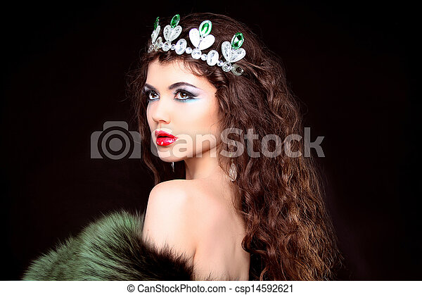 Beautiful woman luxury portrait with long hair in fur coat. Jewelry and Beauty. Fashion art photo - csp14592621
