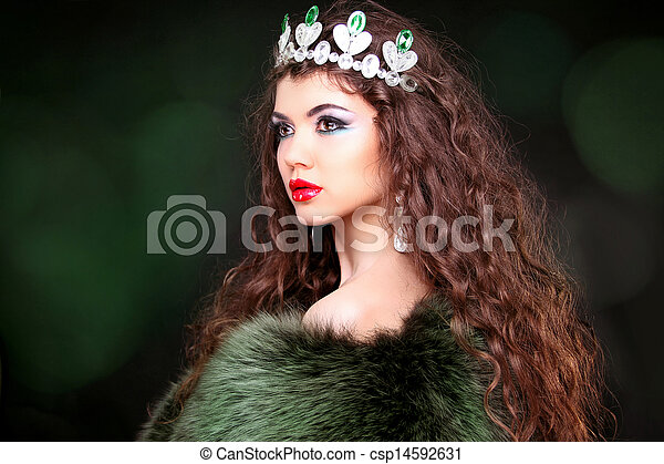 Beautiful woman luxury portrait with long hair in fur coat. Jewelry and Beauty. Fashion art photo - csp14592631