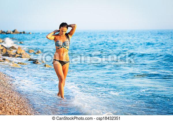 Beautiful Woman on beach - csp18432351