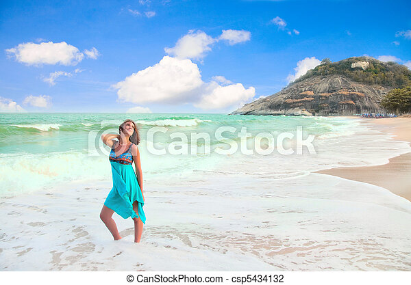 Beautiful  woman on the beach - csp5434132