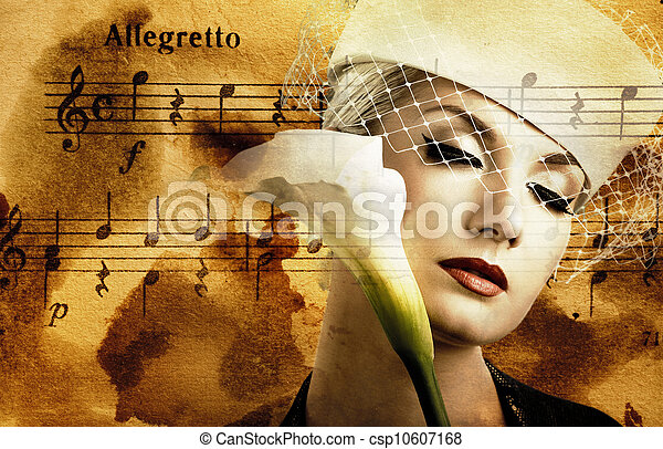 Beautiful woman over abstract melody background - csp10607168