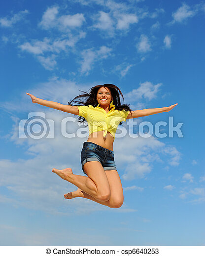 Beautiful Woman over blue Sky - csp6640253