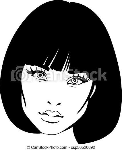 beautiful woman portrait bob hairstyle black and white