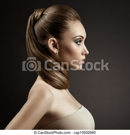 Beautiful Woman Portrait. Long Brown Hair  - csp10502660