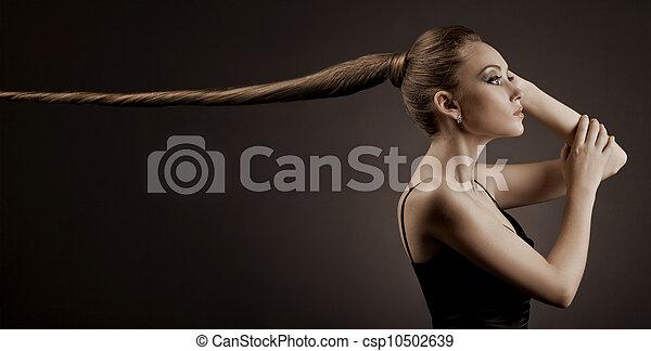Beautiful Woman Portrait. Long Brown Hair  - csp10502639