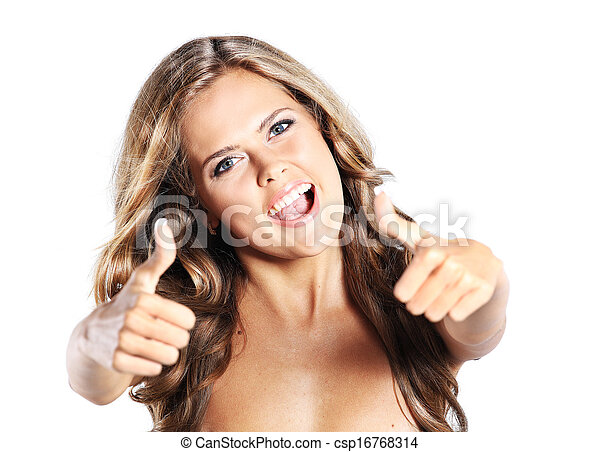 Beautiful woman portrait showing thumbs up, isolated over a white background - csp16768314