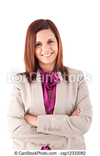 Beautiful woman posing over white background - csp12333082