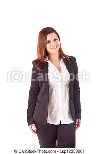 Beautiful woman posing over white background - csp12333061