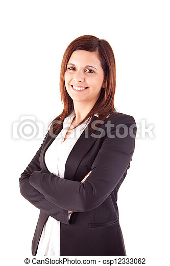 Beautiful woman posing over white background - csp12333062