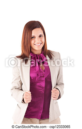 Beautiful woman posing over white background - csp12333065