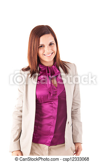 Beautiful woman posing over white background - csp12333068