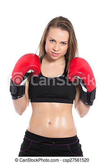 Beautiful woman posing with boxing gloves - csp27561520