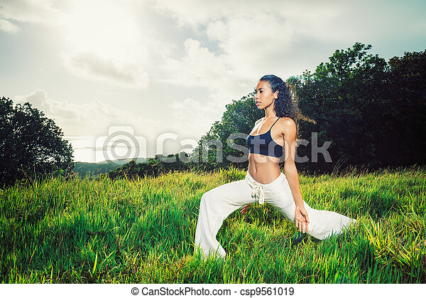 Beautiful Woman Practicing Yoga Outside in Nature - csp9561019