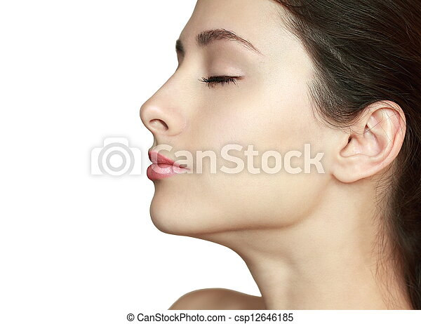 Beautiful woman profile with closed eyes isolated. Clean health skin face - csp12646185