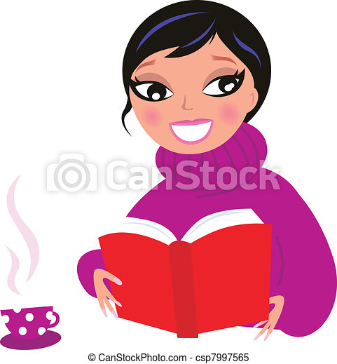 Beautiful Woman reading red book isolate on white   - csp7997565