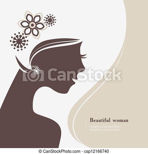 Beautiful woman silhouette - csp12166740