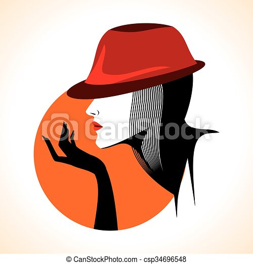 Beautiful woman silhouette - csp34696548