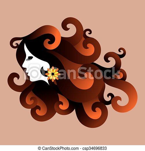 Beautiful woman silhouette - csp34696833