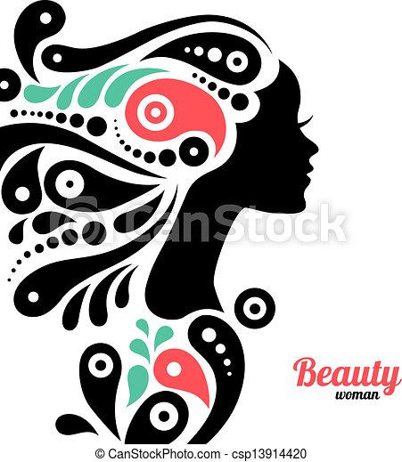 Beautiful woman silhouette - csp13914420
