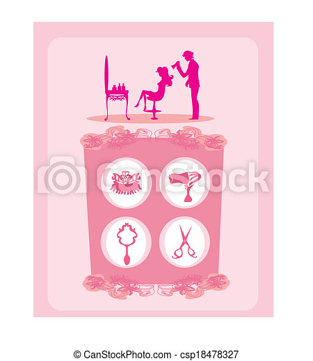 beautiful woman silhouette in barber shop  - csp18478327
