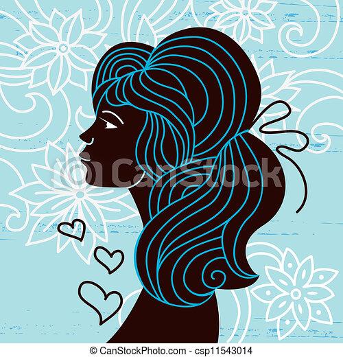 Beautiful woman silhouette profile - csp11543014