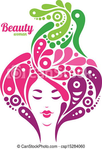 Beautiful woman silhouette. Tattoo of abstract girl hair. Nature design - csp15284060