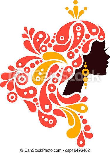 Beautiful woman silhouette. Tattoo of abstract girl hair - csp16496482