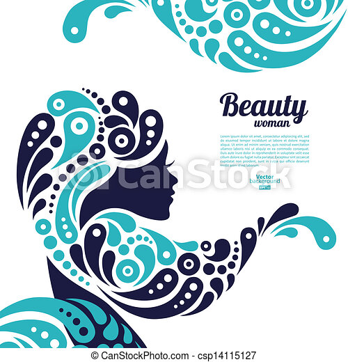 Beautiful woman silhouette. Tattoo of abstract girl hair. Marine design - csp14115127