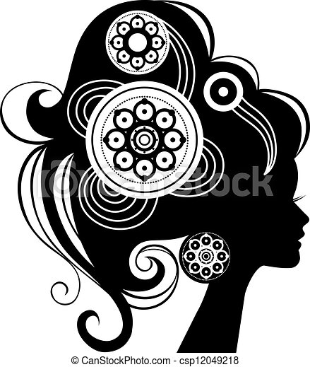 Beautiful woman silhouette - csp12049218