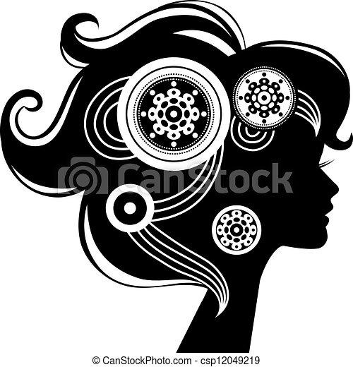 Beautiful woman silhouette - csp12049219