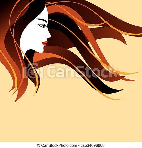 Beautiful woman silhouette - csp34696808