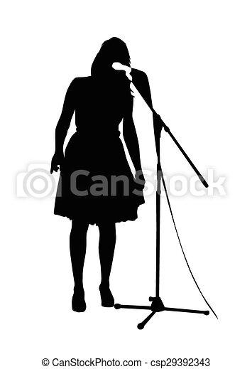 beautiful woman singing - csp29392343