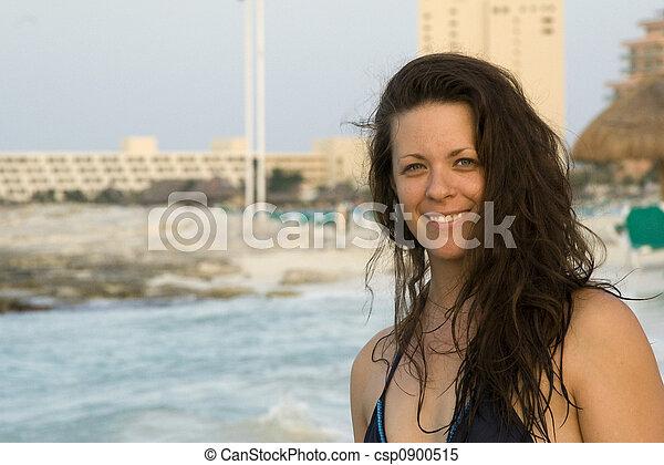Beautiful Woman Smiling on Beach - csp0900515