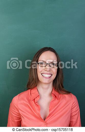 Beautiful woman wearing glasses - csp15705118