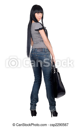 Beautiful woman with a handbag. Isolated on white - csp2290567