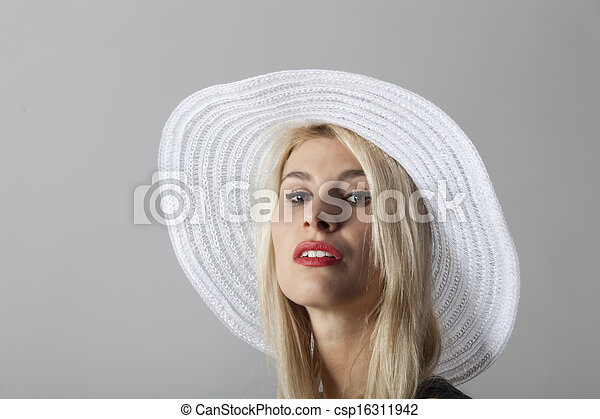 beautiful woman with a hat  - csp16311942