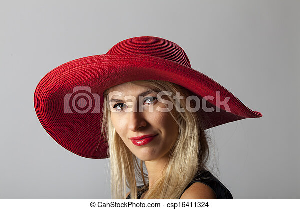 beautiful woman with a hat  - csp16411324