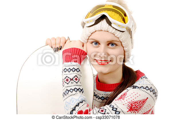 beautiful woman with a snowboard in studio  - csp33071078