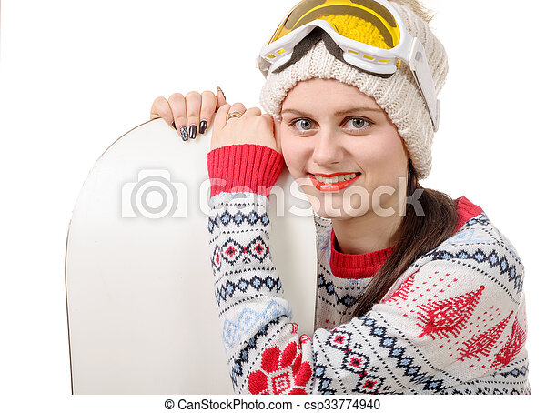 beautiful woman with a snowboard in studio - csp33774940