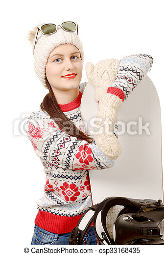 beautiful woman with a snowboard in studio - csp33168435