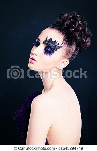 Beautiful Woman with Art Makeup - csp45294749