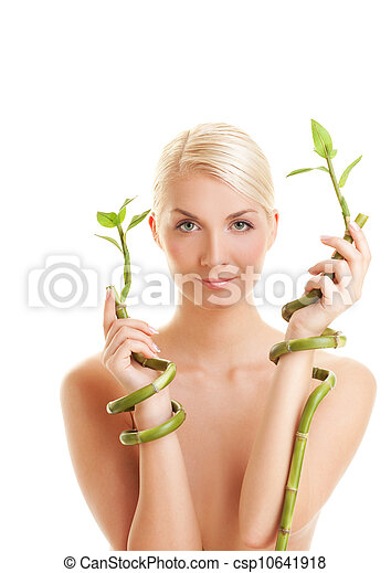 Beautiful woman with bamboo plant   - csp10641918