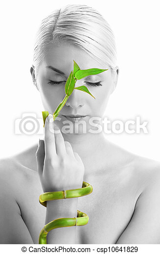 Beautiful woman with bamboo plant - csp10641829