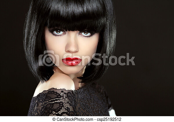 Beautiful Woman With Black Short Hair. Haircut. Hairstyle. Fring - csp25192512